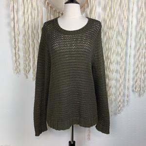 Eileen Fisher Olive Open Weave Long Sleeve Sweater